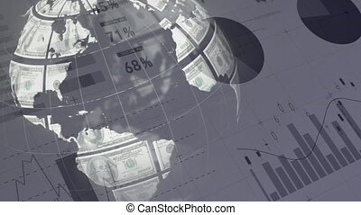 Globe made out of dollar banknotes