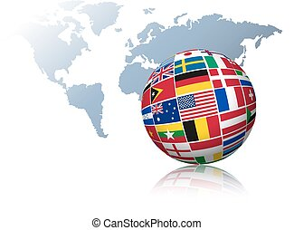 Globe made out of flags on a world map background.