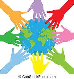 globe, mains, autour de