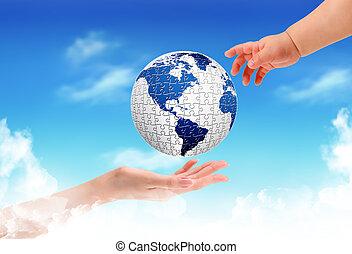 globe, mains, enfant avoirs