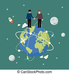globe, mains secouer, professionnels