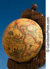 Globe map, America