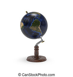 Globe map of earth 3d rendering