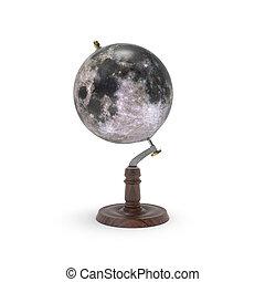 Globe map of moon 3d rendering