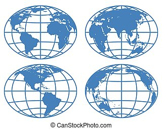 Globe maps - Set of the globe icons