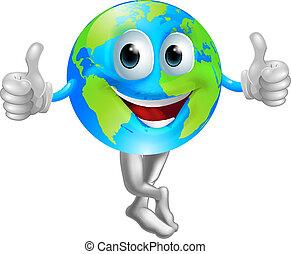 globe, mascotte, dessin animé, homme