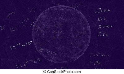 globe, mathématique, formules, pourpre, contre