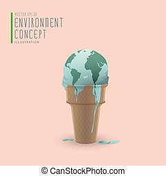 Globe melting like ice cream on a cone illustration vector.