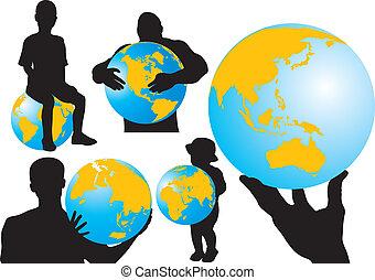 globe, mensen, &