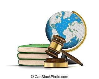 globe, met, gavel, en, boekjes , van, wet