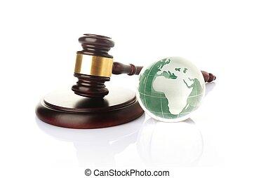 globe, met, gavel