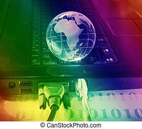 globe, met, hoogwaardige technologie, achtergrond