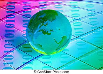 globe, met, hoogwaardige technologie