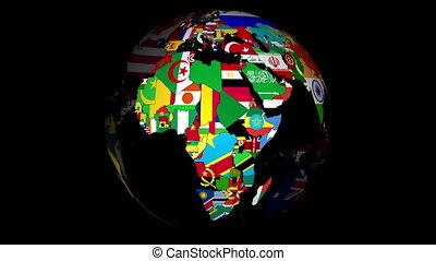 globe, met, landen, en, hun, nationale, vlaggen