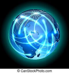 globe, met, licht, sporen, ronddraaien, around.