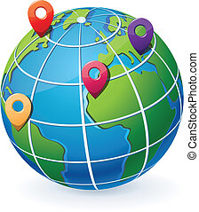 globe, met, plaats, wijzers