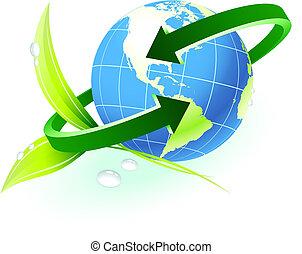 globe, met, richtingwijzer, met, natuur, achtergrond