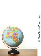 globe, met, stander, op bureau