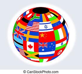 globe, met, vlaggen