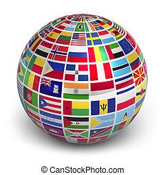 globe, met, wereld, vlaggen