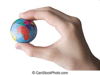 globe, model, hand