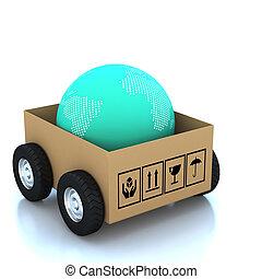 globe, moderne, boîtes, carton, 3d