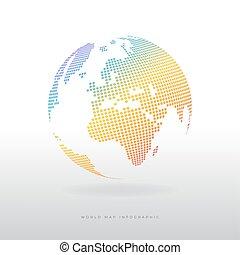 globe, moderne, icon., coloré