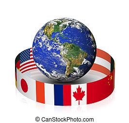 globe mondial, à, drapeaux