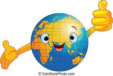 globe mondial, caractère