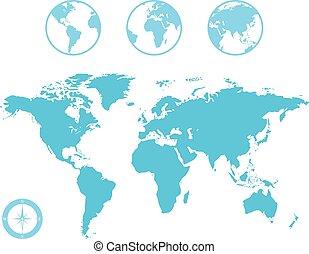 globe mondial, carte, icônes