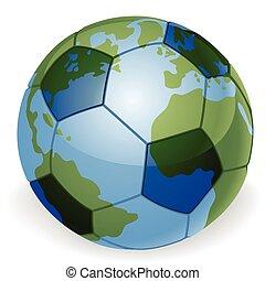 globe mondial, concept, balle, football