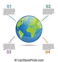 globe mondial, illustration, infographics