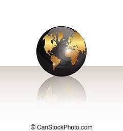 globe mondial, noir, illustration, or
