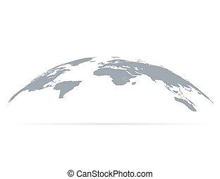 globe mondial, ombre, carte