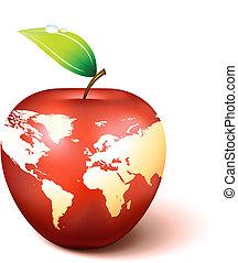 globe mondial, pomme, carte