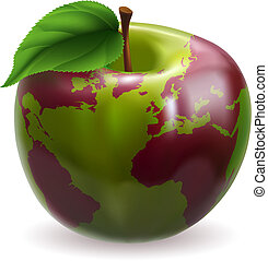 globe mondial, pomme