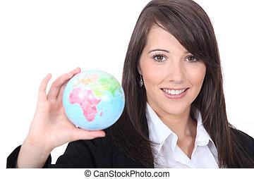 globe mondial, tenue femme, dehors