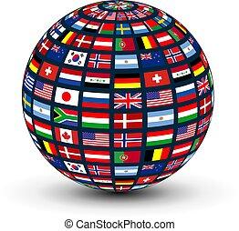 globe, mondiale, drapeaux