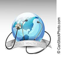 globe., mot, day., hälsa, vector., värld, stetoskop