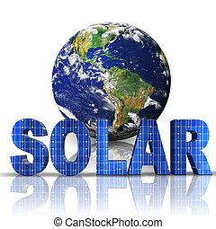 globe, mot, solaire, 3d