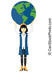 globe., mulher segura