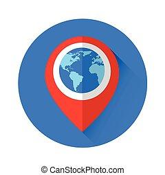 Globe Navigation Marker World Map Icon