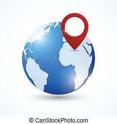 Globe navigation pin - World earth globe with navigation pin...