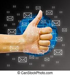 globe., negócio, concept., global, mão, envelopes, sobre