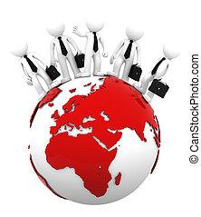 globe., negócio, topo, africano, equipe, lado, europeu