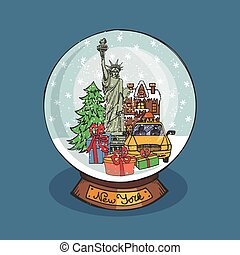 globe, neige, noël, york, nouveau