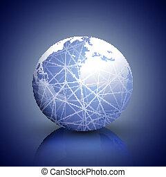 Globe network connections, blue design background vector illustration