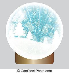 globe, noël, fond, neige
