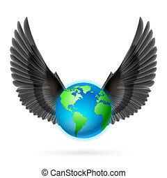 globe, noir, blanc, ailes