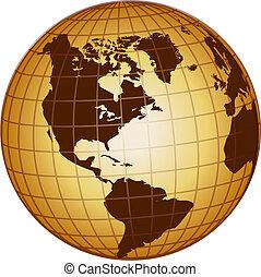 globe, noorden, en, zuid-amerika